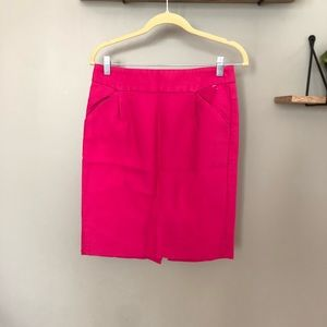 J. Crew The Pencil Skirt Bright Pink Cotton Size 4